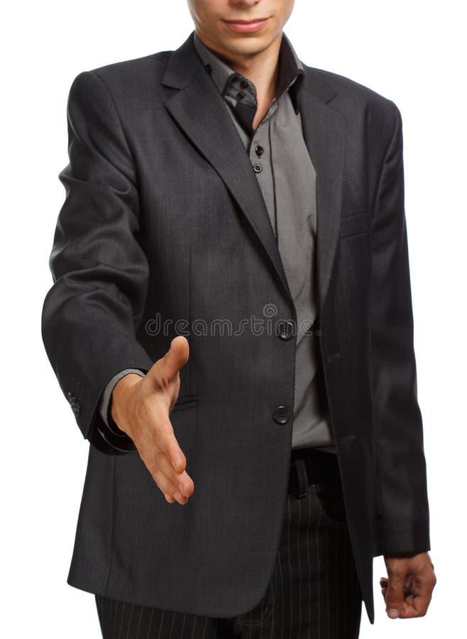 Homme d'affaires tenant la main pour la poignée de main images stock