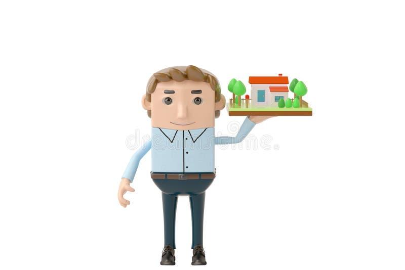 Homme d'affaires tenant la maison illustration 3D illustration de vecteur