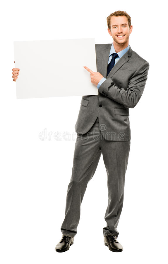 Homme d'affaires tenant la plaquette blanche vide montrant l'espace de copie image libre de droits