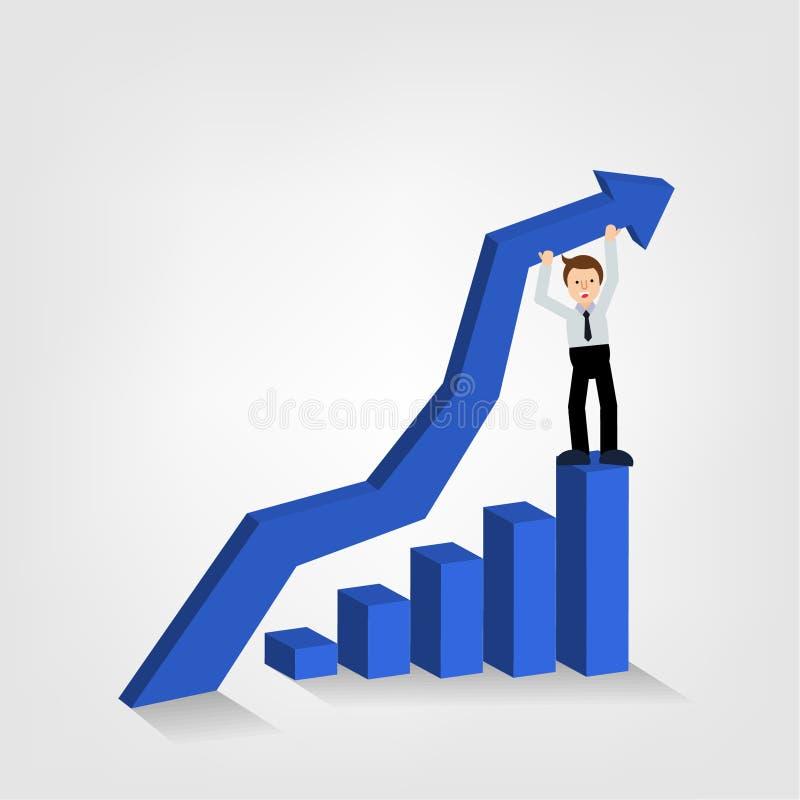 Homme d'affaires tenant la position haute élevée de flèche de graphique sur le busi illustration de vecteur