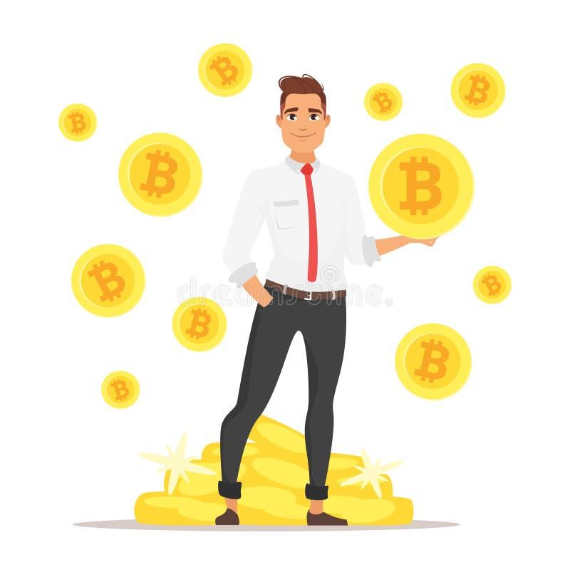 Homme d'affaires tenant le bitcoin illustration de vecteur