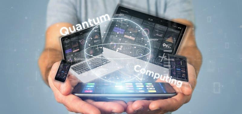 Homme d'affaires tenant le concept d'informatique quantique avec le rendu de qubit et de dispositifs 3d image stock