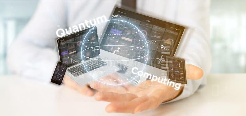 Homme d'affaires tenant le concept d'informatique quantique avec le rendu de qubit et de dispositifs 3d images libres de droits