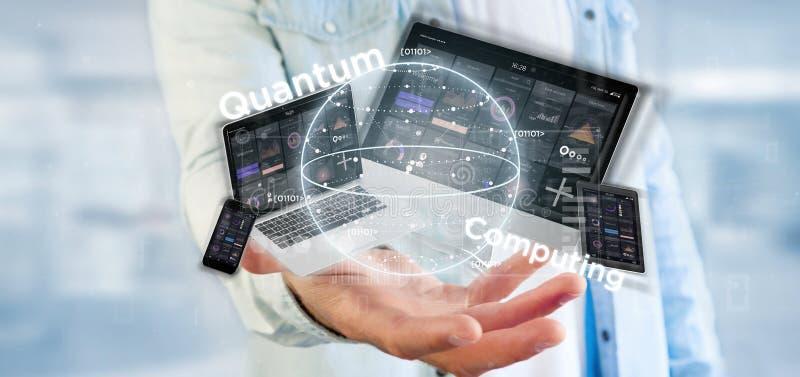 Homme d'affaires tenant le concept d'informatique quantique avec le rendu de qubit et de dispositifs 3d photographie stock libre de droits