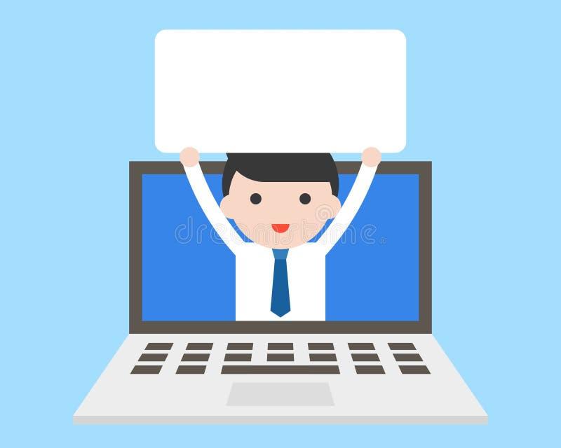 Homme d'affaires tenant le conseil blanc vide dans l'écran d'ordinateur portable illustration de vecteur