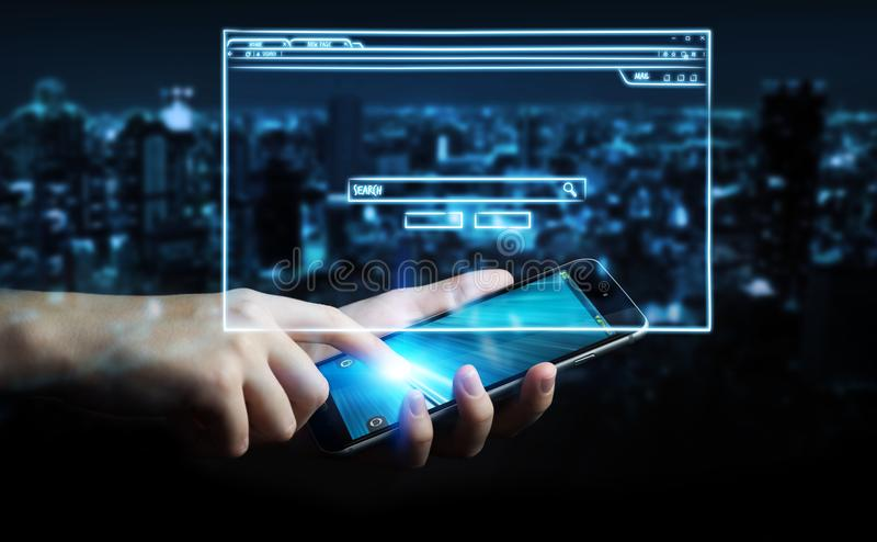 Homme d'affaires tenant le croquis de page de site Web au-dessus du téléphone portable illustration libre de droits