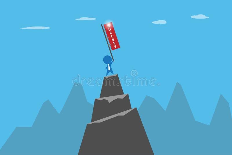 Homme d'affaires tenant le drapeau de succès sur le dessus du concept de montagne, de succès et d'affaires illustration stock