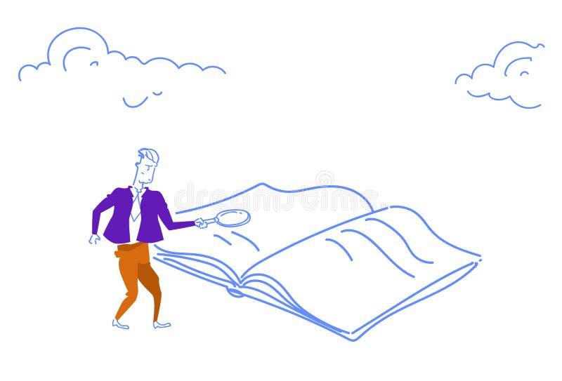 Homme d'affaires tenant le griffonnage horizontal de agrandissement de croquis de recherche de bourdonnement de l'information de  illustration stock
