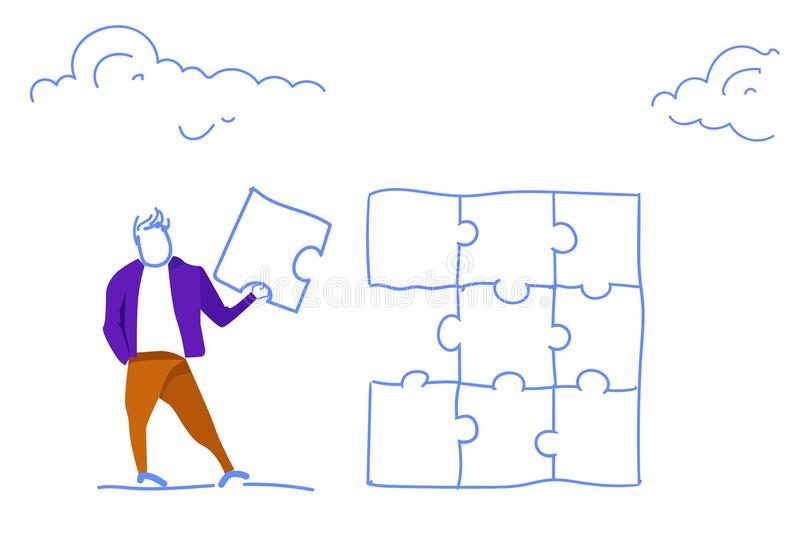 Homme d'affaires tenant le griffonnage horizontal de croquis de pièce de puzzle de problème de solution de projet de concept réus illustration stock