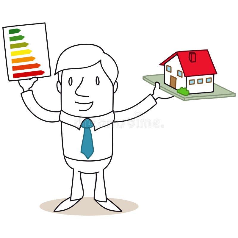 Homme d'affaires tenant le label d'énergie et le hou miniature illustration libre de droits