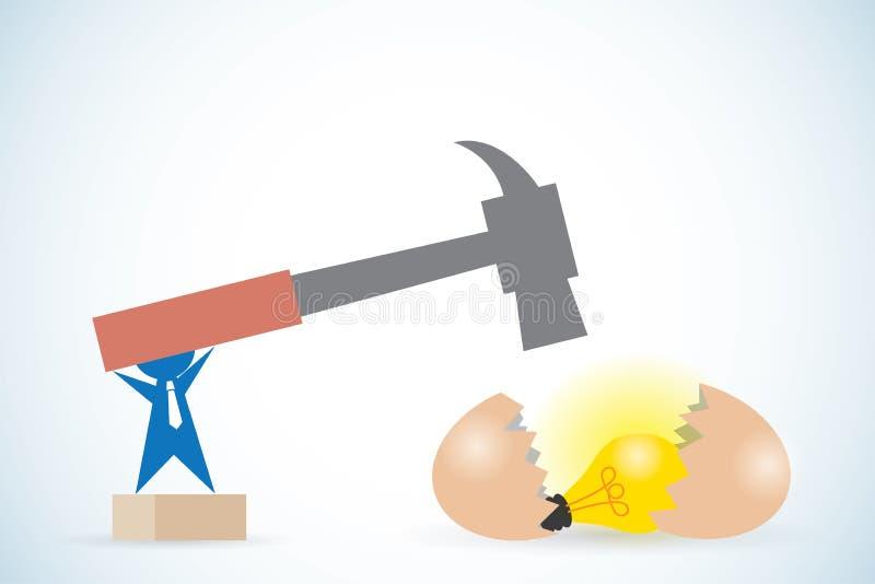 Homme d'affaires tenant le marteau pour casser l'oeuf et pour obtenir l'ampoule, l'idée et le concept d'affaires illustration stock