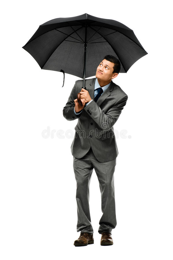 Homme d'affaires tenant le parapluie photos libres de droits