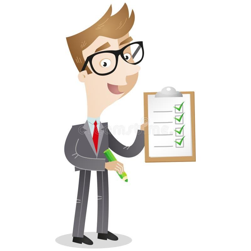 Homme d'affaires tenant le presse-papiers avec la liste de contrôle illustration libre de droits