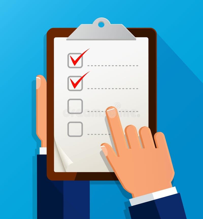 Homme d'affaires tenant le questionnaire de liste de contrôle, presse-papiers, style plat d'icône de liste des tâches illustration libre de droits