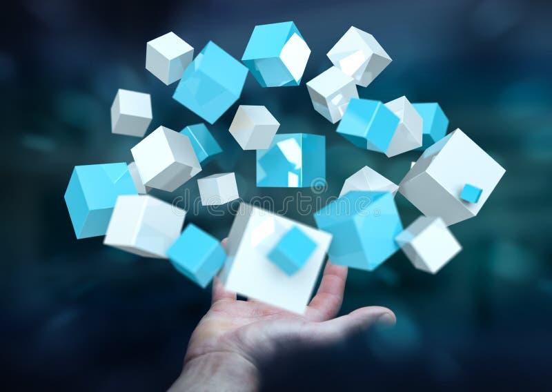 Homme d'affaires tenant le rendu brillant bleu volant du cube 3D illustration libre de droits