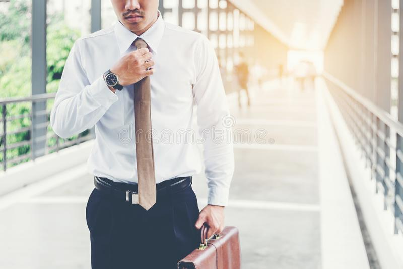 Homme d'affaires tenant le sac de chariot montant sur le voyage photo libre de droits