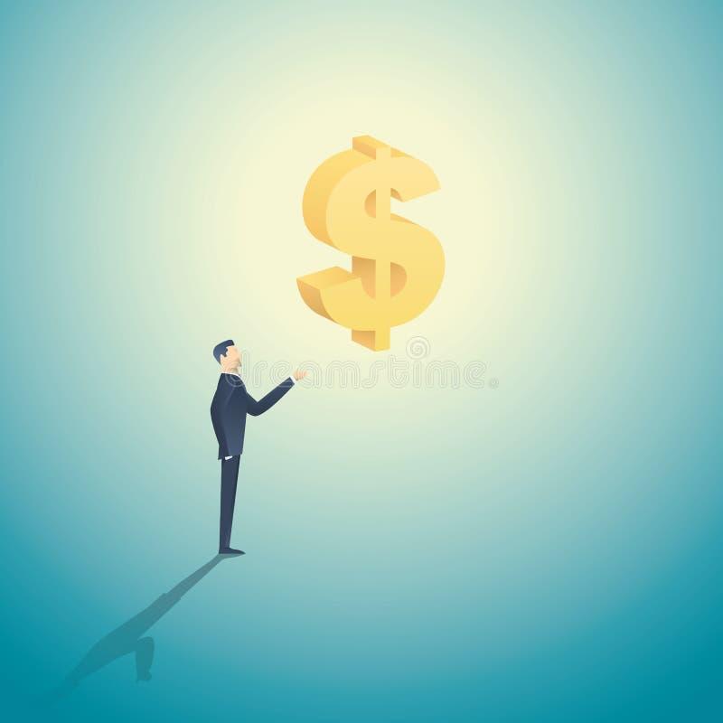 Homme d'affaires tenant le symbole dollar 3d comme symbole d'investissement, de banques, d'argent et d'avidité, capitalisme illustration stock