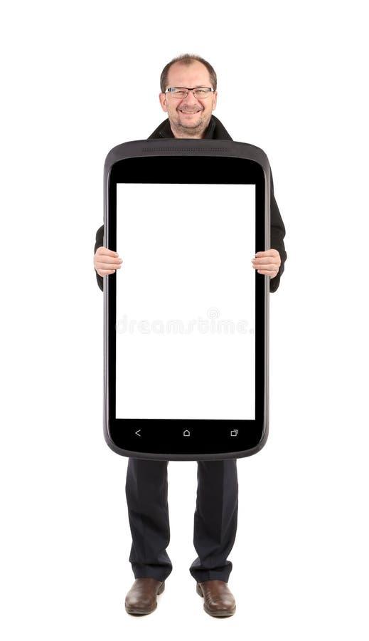 Homme d'affaires tenant le téléphone portable collage photos libres de droits