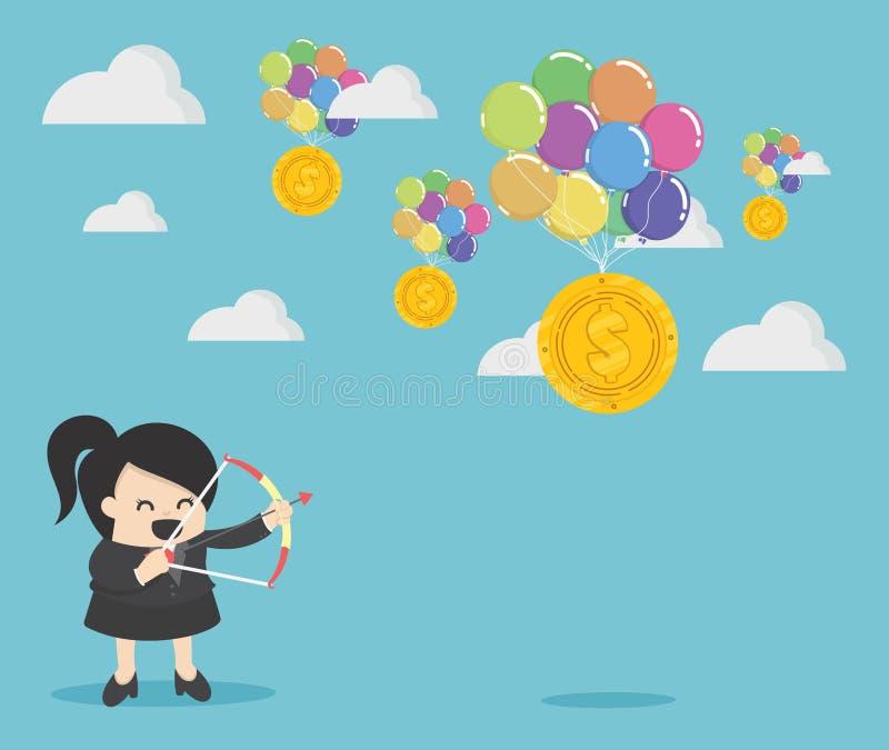 Homme d'affaires tenant un ballon du dollar d'argent de pousse d'arc illustration stock