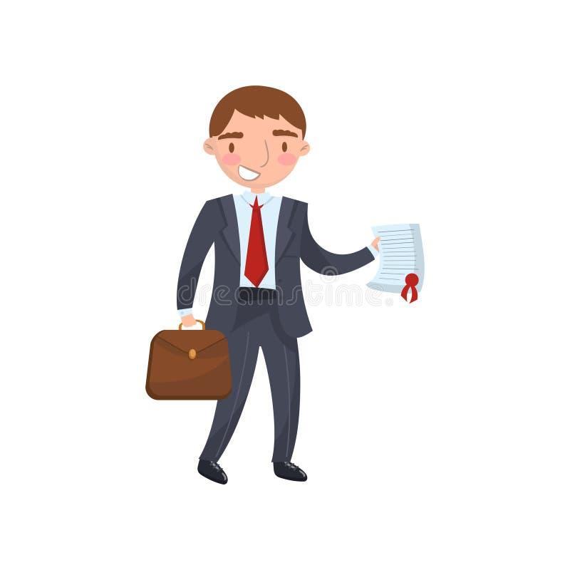 Homme d'affaires tenant un document dans des ses mains, illustration de vecteur de bande dessinée de concept d'assurance auto illustration de vecteur