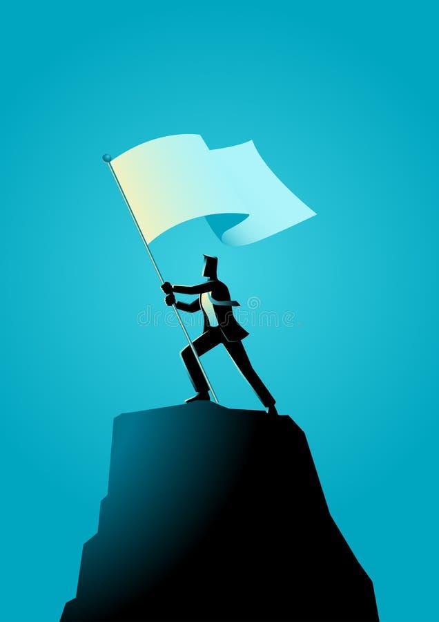 Homme d'affaires tenant un drapeau sur la roche illustration stock