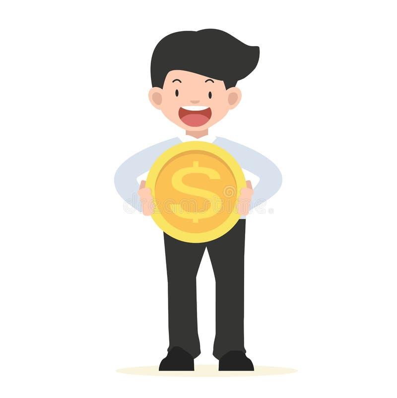 Homme d'affaires tenant un grand concept de pièce de monnaie illustration libre de droits