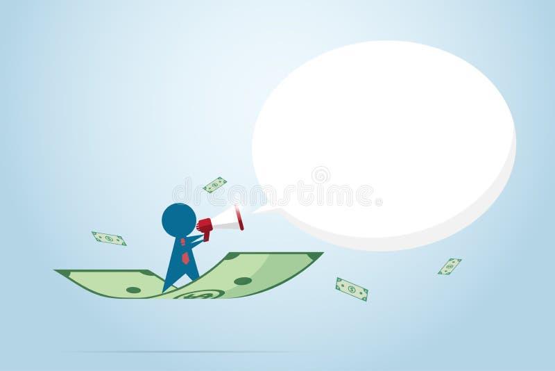 Homme d'affaires tenant un mégaphone avec le billet de banque, concept de commercialisation illustration libre de droits
