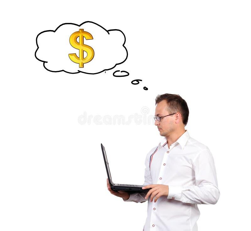 Homme d'affaires tenant un ordinateur portable photos libres de droits