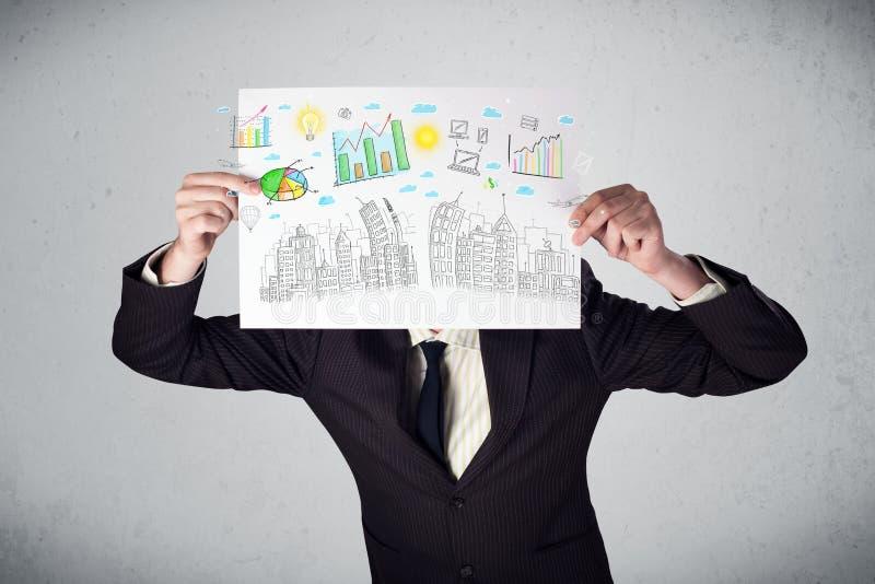 Download Homme D'affaires Tenant Un Papier Avec Des Diagrammes Et Le Paysage Urbain En O Avant Image stock - Image du attraction, affaires: 45365845