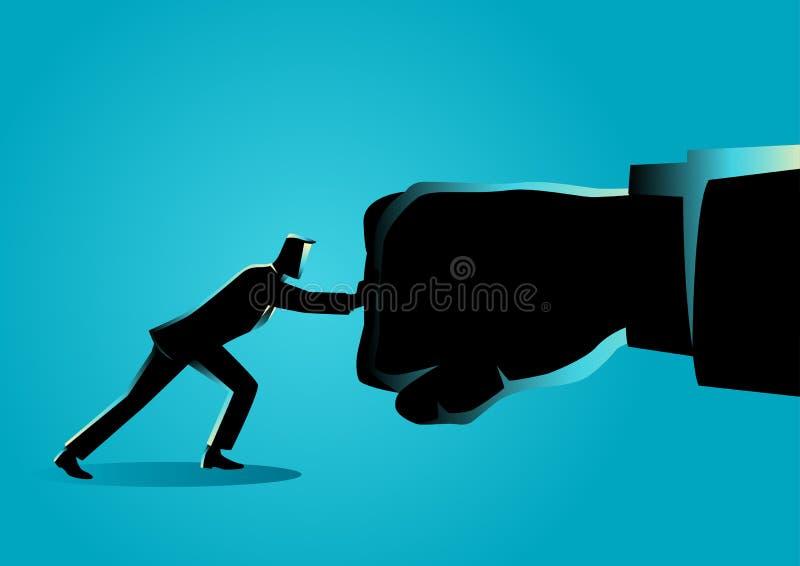 Homme d'affaires tenant un poinçon géant illustration libre de droits
