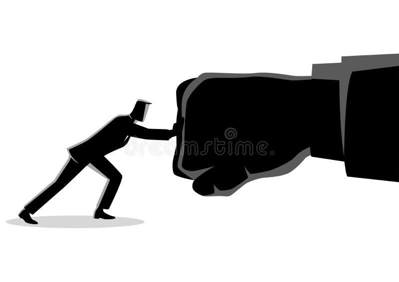 Homme d'affaires tenant un poinçon géant illustration de vecteur