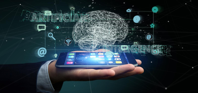 Homme d'affaires tenant un 3d rendant le conce d'intelligence artificielle images stock