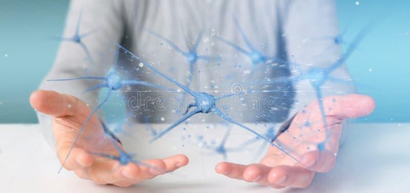 Homme d'affaires tenant un 3d rendant le groupe de neurones image libre de droits