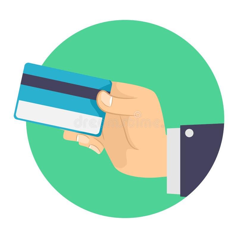 Homme d'affaires tenant une carte de crédit en blanc illustration stock