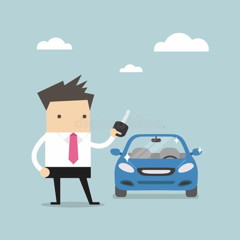 Homme d'affaires tenant une clé d'une nouvelle voiture illustration stock