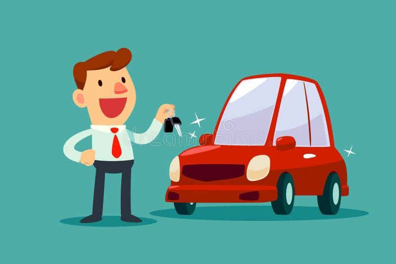 Homme d'affaires tenant une clé de sa nouvelle voiture illustration libre de droits