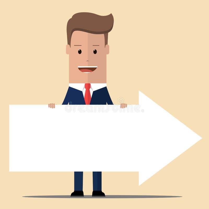 Homme d'affaires tenant une flèche Illustration de vecteur illustration de vecteur