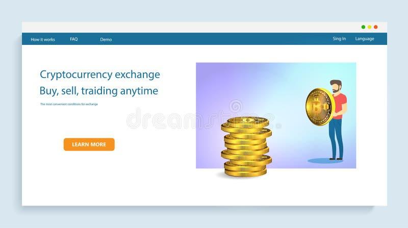 Homme d'affaires tenant une pièce de monnaie d'or de bitcoin sur le fond des piles de marques Technologie de réseau de Blockchain illustration stock