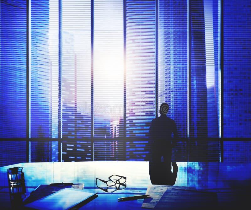 Homme d'affaires Thinking Aspirations Goals contemplant le concept illustration de vecteur