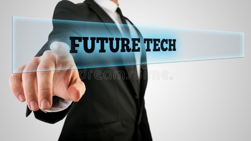 Homme d'affaires Ticking par verre avec le futur label de technologie photographie stock