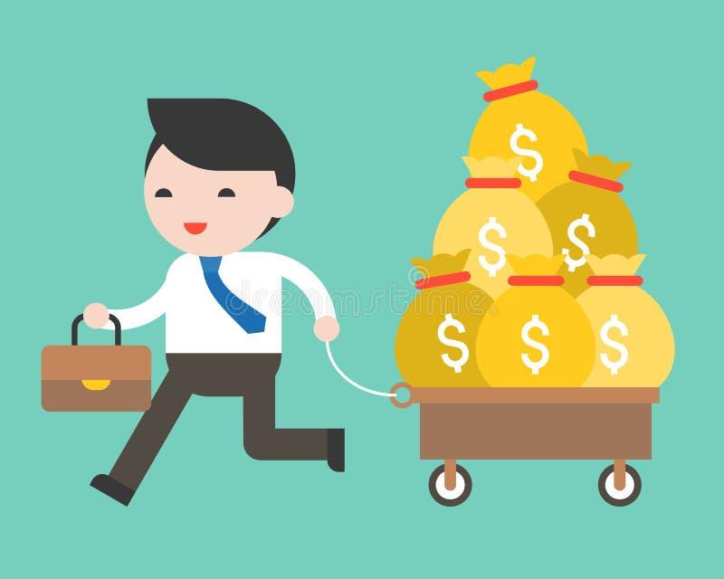Homme d'affaires tirant le chariot complètement de l'argent, conjoncture économique concentrée illustration stock