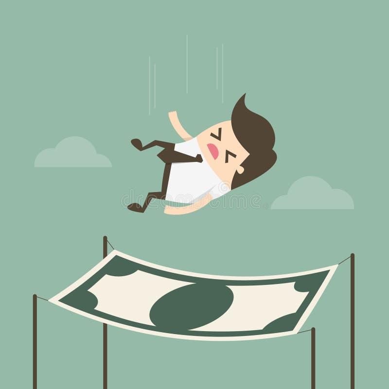 Homme d'affaires tombant dans un filet de sécurité financier illustration stock
