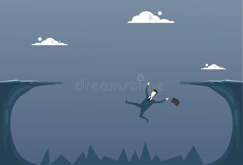 Homme d'affaires tombant en concept de crise de Cliff Gap Businessman Fail Bankruptcy illustration de vecteur