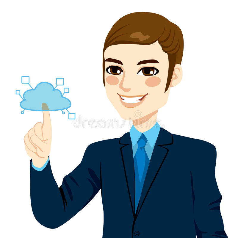 Homme d'affaires Touching Cloud Computing illustration stock