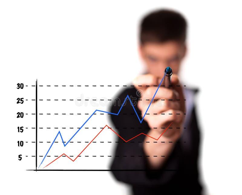 Homme d'affaires traçant un graphique sur un écran en verre photos stock