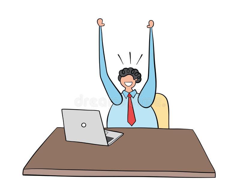 Homme d'affaires travaillant à l'ordinateur et à l'illustration heureuse et tirée par la main de vecteur Contours et couleur noir illustration libre de droits