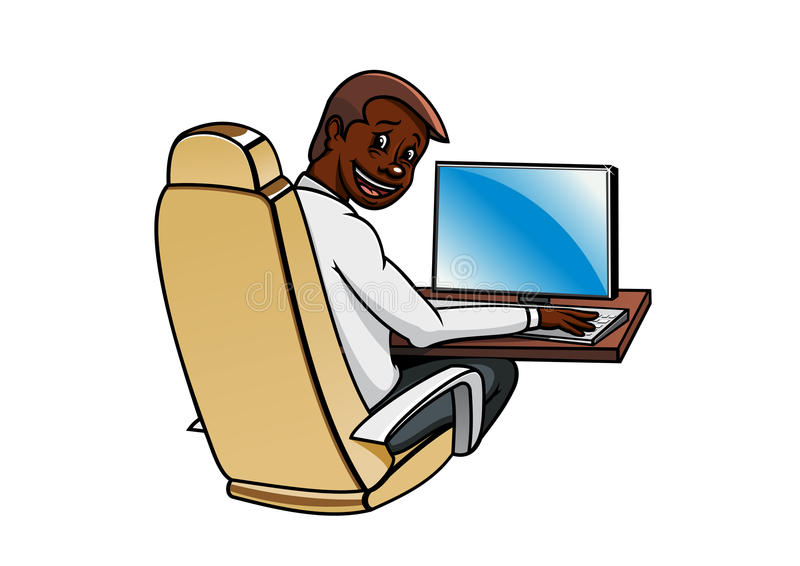 Homme d'affaires travaillant à un ordinateur de bureau illustration de vecteur