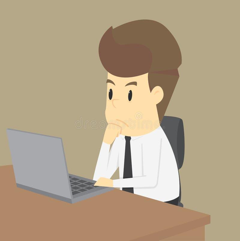Homme d'affaires travaillant au carnet illustration stock
