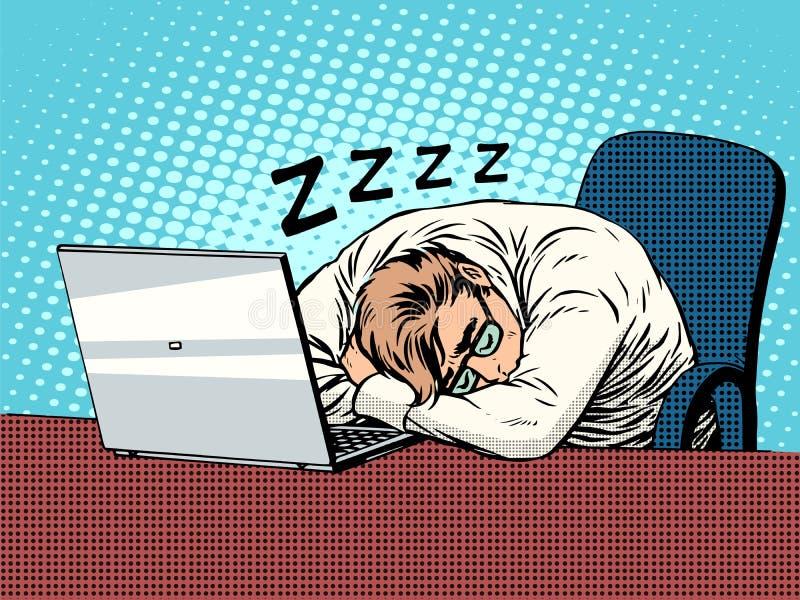 Homme d'affaires travaillant au sommeil de fatigue d'ordinateur portable illustration libre de droits
