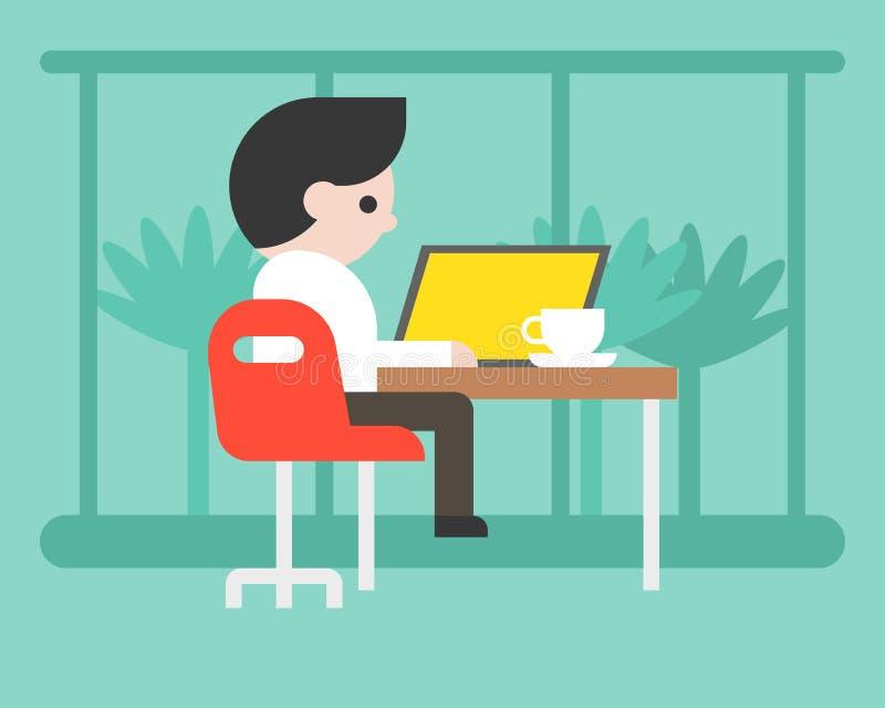 Homme d'affaires travaillant avec l'ordinateur portable au café, conce d'espace de travail illustration stock